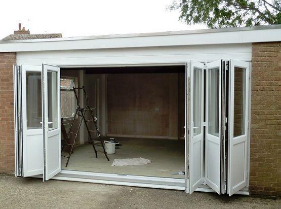 folding garage doorsWhite bi fold garage doors  garage doors  Pinterest  Garage