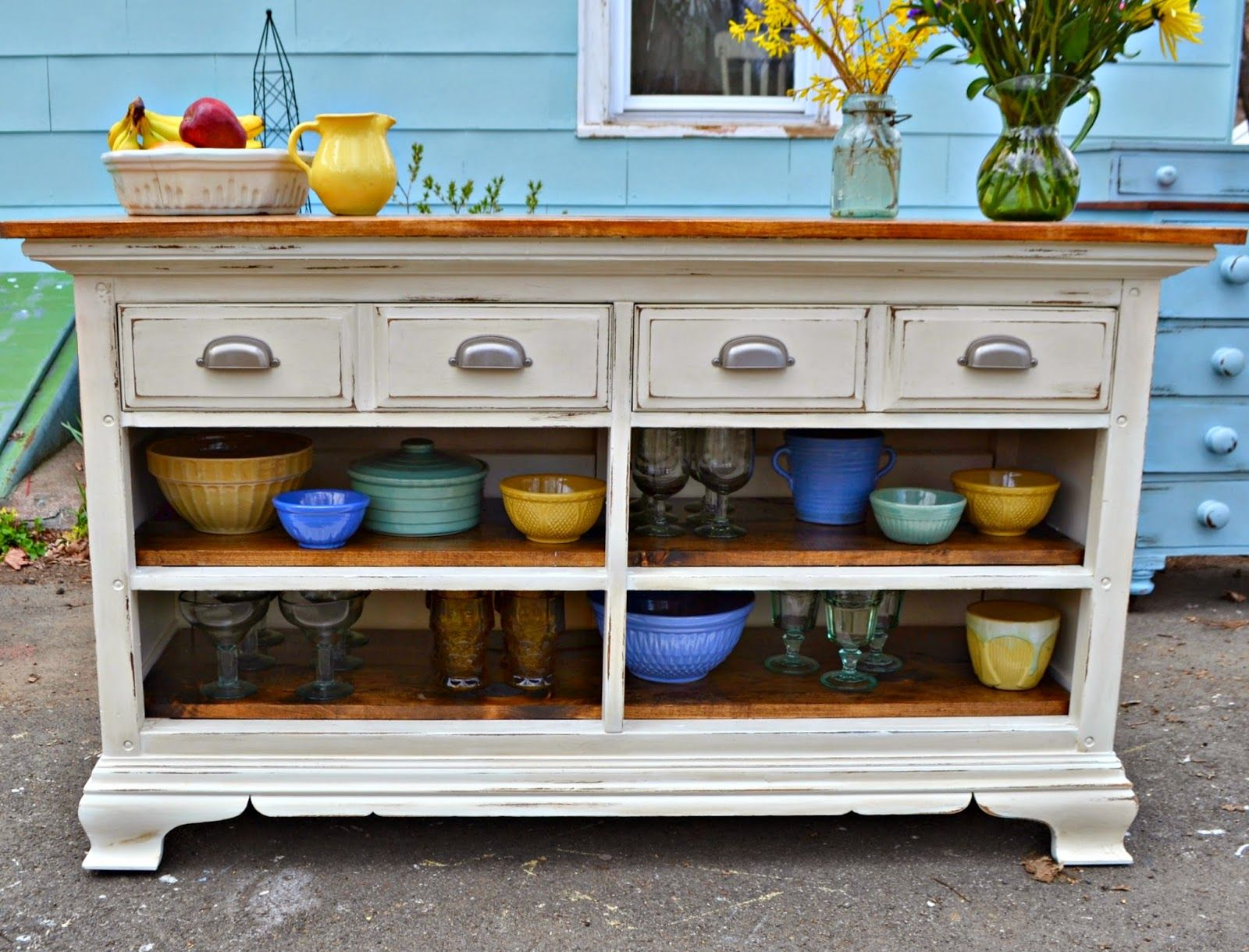 Kitchen Server Furniture Heir And Space A Vintage Dresser Turned Kitchen Server Design