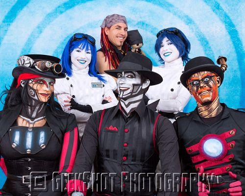 bunnybennett:  geekshot:  New Steam Powered Giraffe prints!Two new prints have been added to the store! These group photos were taken just last weekend at Steampunk World's Fair! Check out all of our group prints here, and our entire collection of SPG prints here!  Oh look its a red core rabs