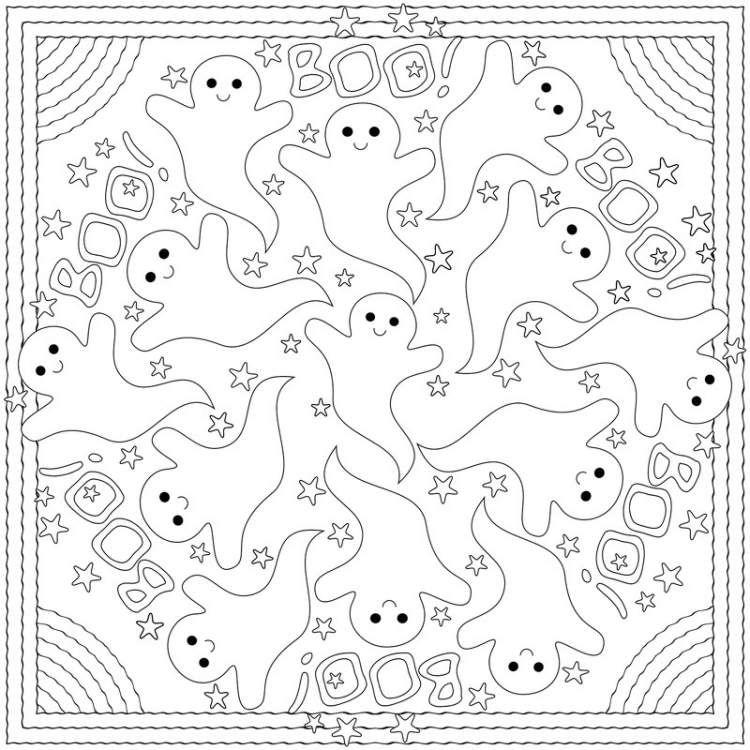 kreative Idee zum Ausfüllen mit Farben - Halloween Mandala | doodles ...