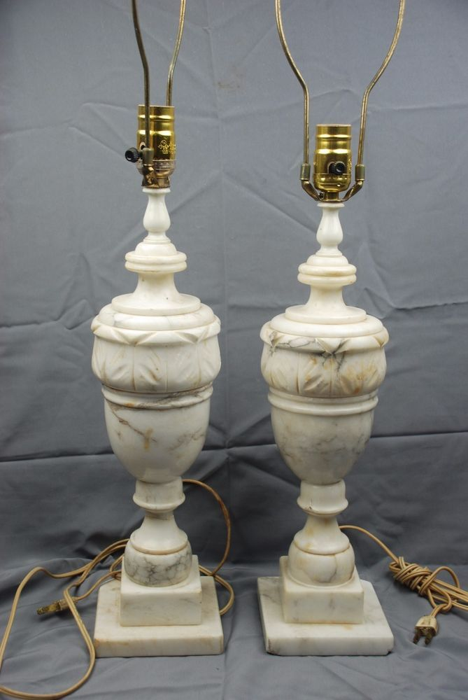 Pair Of Vintage Neoclassical Italian Alabaster Marble Carved Urn Table Lamps Marble Carving Alabaster Lamp Alabaster