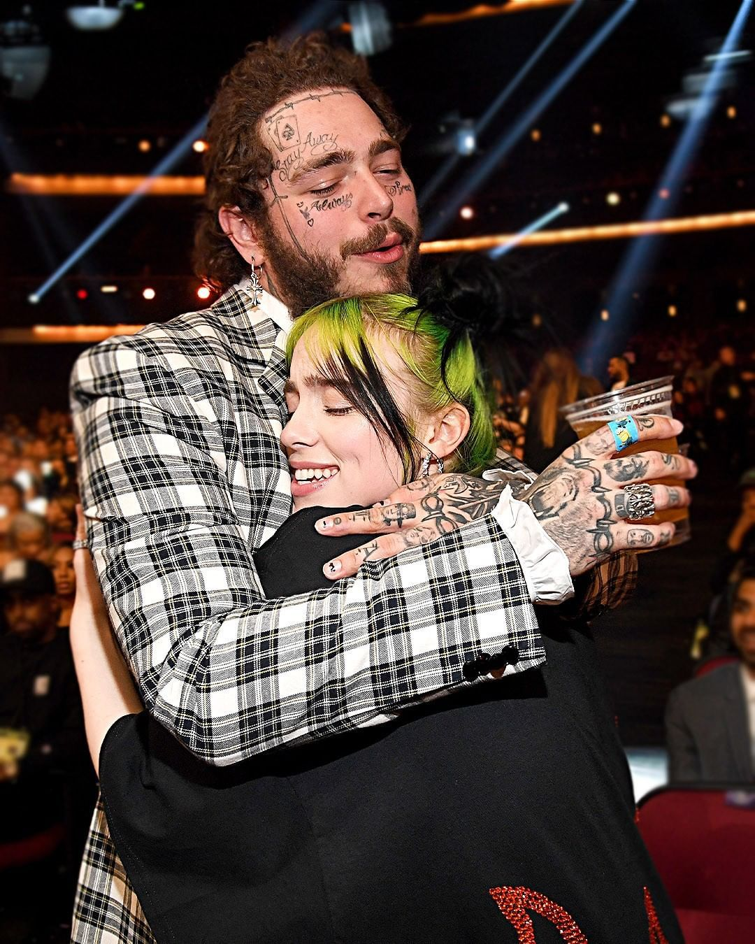 "Entertainment Tonight on Instagram: ""This friendship. � We're feeling better now after seeing Post Malone give Billie Eilish a bear hug at the #AMAs. (�: Getty Images)"""
