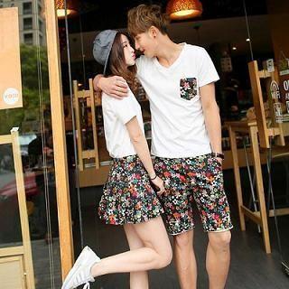 Couple Set: V-Neck T-Shirt + Shorts / Skirt from #YesStyle <3 Evolu YesStyle.com