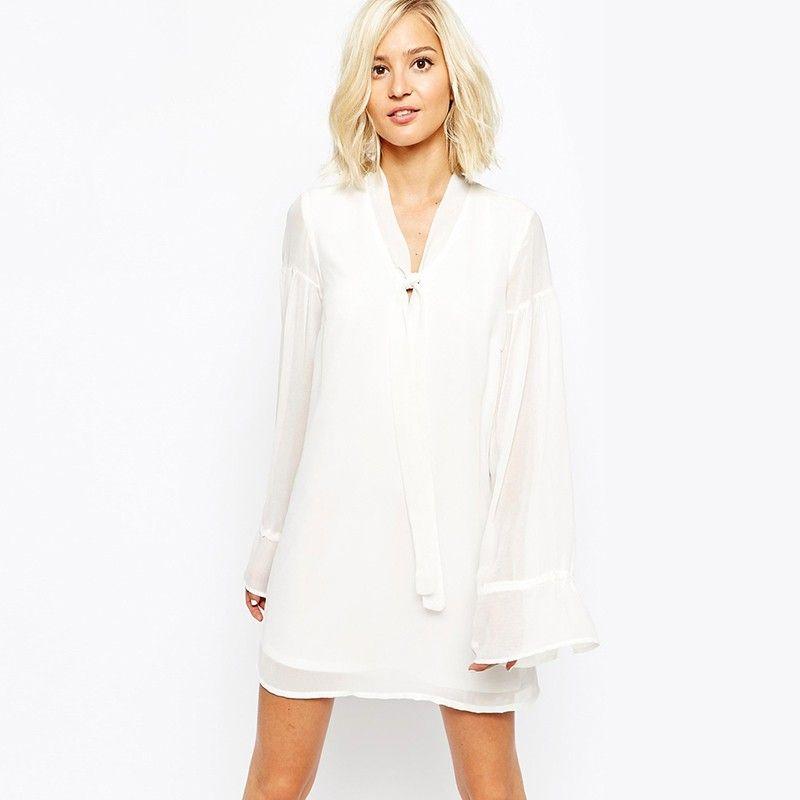 white long sleeve chiffon dress « Bella Forte Glass Studio