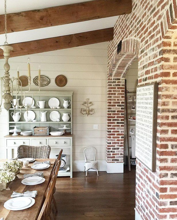 The Brick Ship Lap Beams Farm Table And Hutch