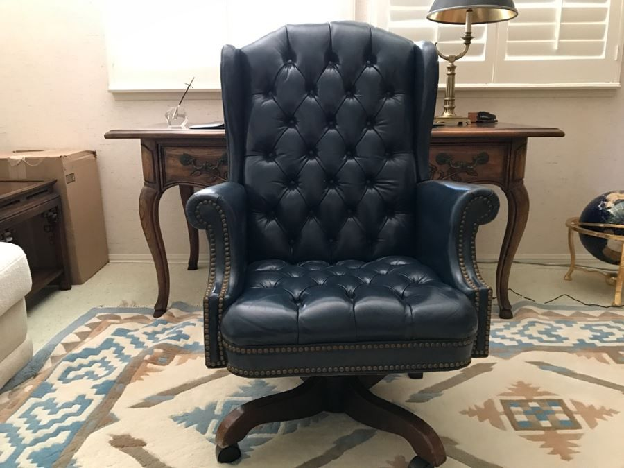 Tufted Leather Executive Office Chair, Hickory Furniture Company