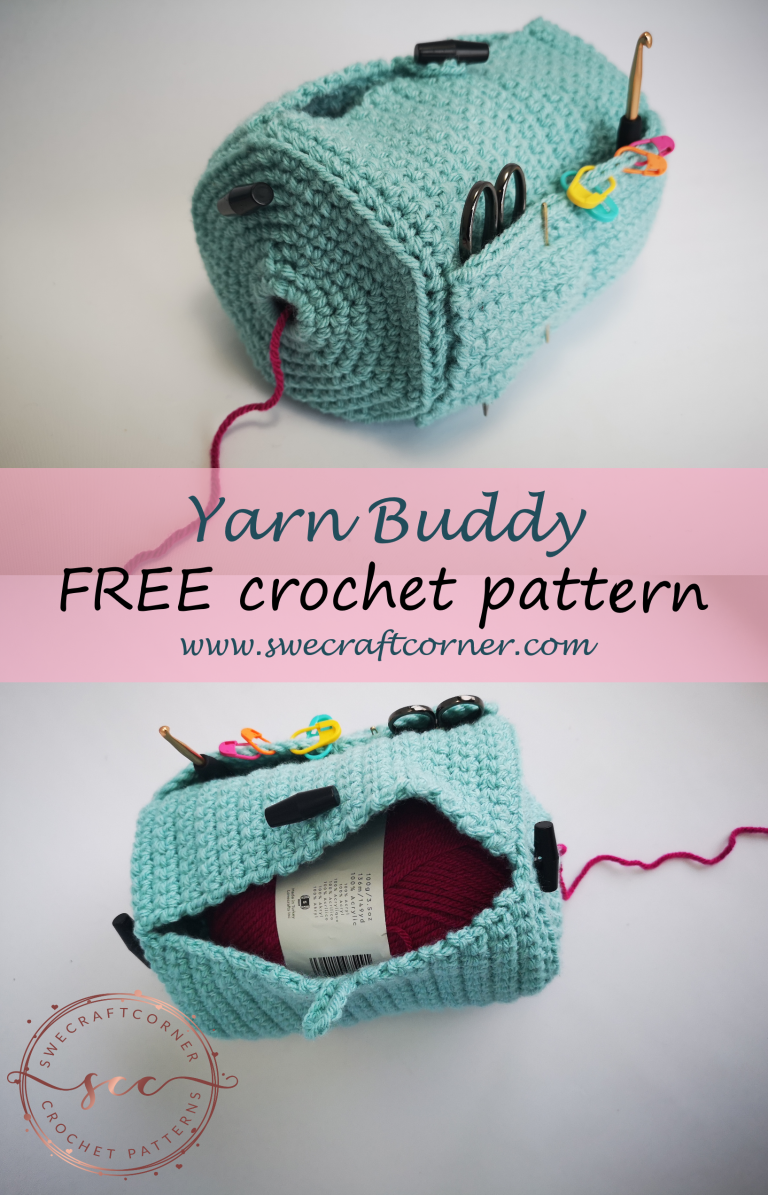 Yarn Buddy – FREE crochet pattern – Swecraftcorner Yarn caddy crochet pattern free #crochetpatterns