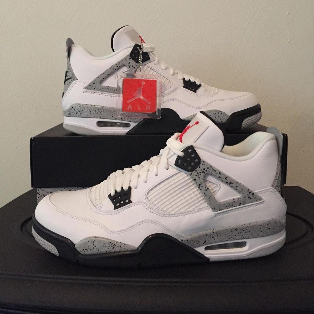 best website 1116f cb5f2 ... new arrivals nike mens air jordan 4 retro sneakers size 9.5 us white  cement fashion ca522