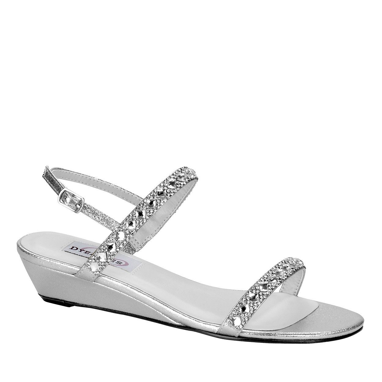 e6197973b30 Dyeables Dressy Beaded Low Wedge in Silver