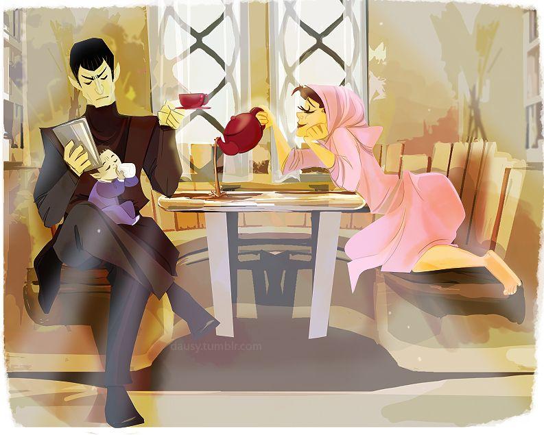 Sarek, Amanda, and baby Spock.