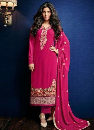 Magenta Embroidery Work Georgette Designer Long Fancy Pakistani Palazzo Suit http://www.angelnx.com/Salwar-Kameez/Pakistani-Suits