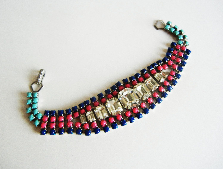 The Mellisa Bracelet - Navy Pink and Turquoise Hand Painted Vintage Rhinestone Bracelet - OOAK. $65.00, via Etsy.