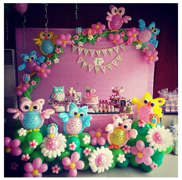 Girl Baby Shower - Owl balloon decoration globos Pinterest