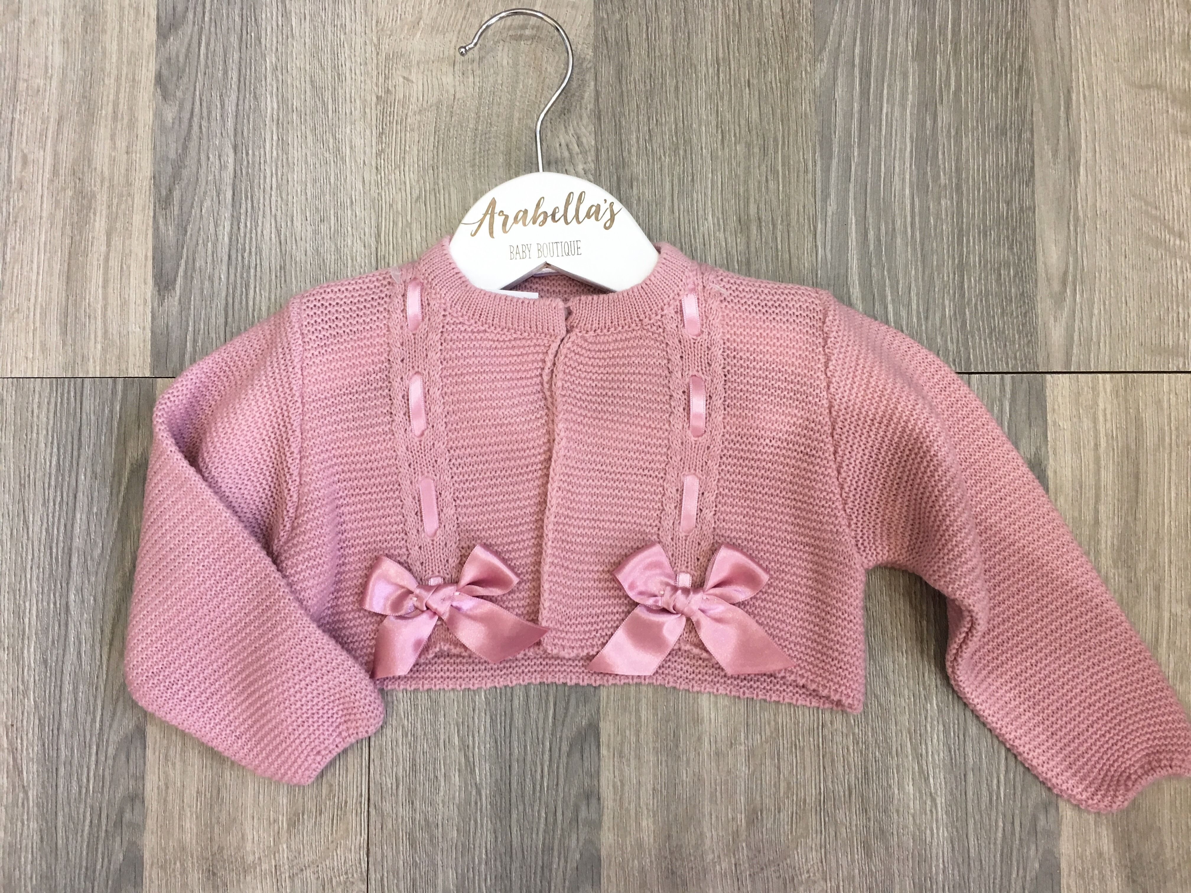 5af8092eb Dusky pink cardigan with satin bows