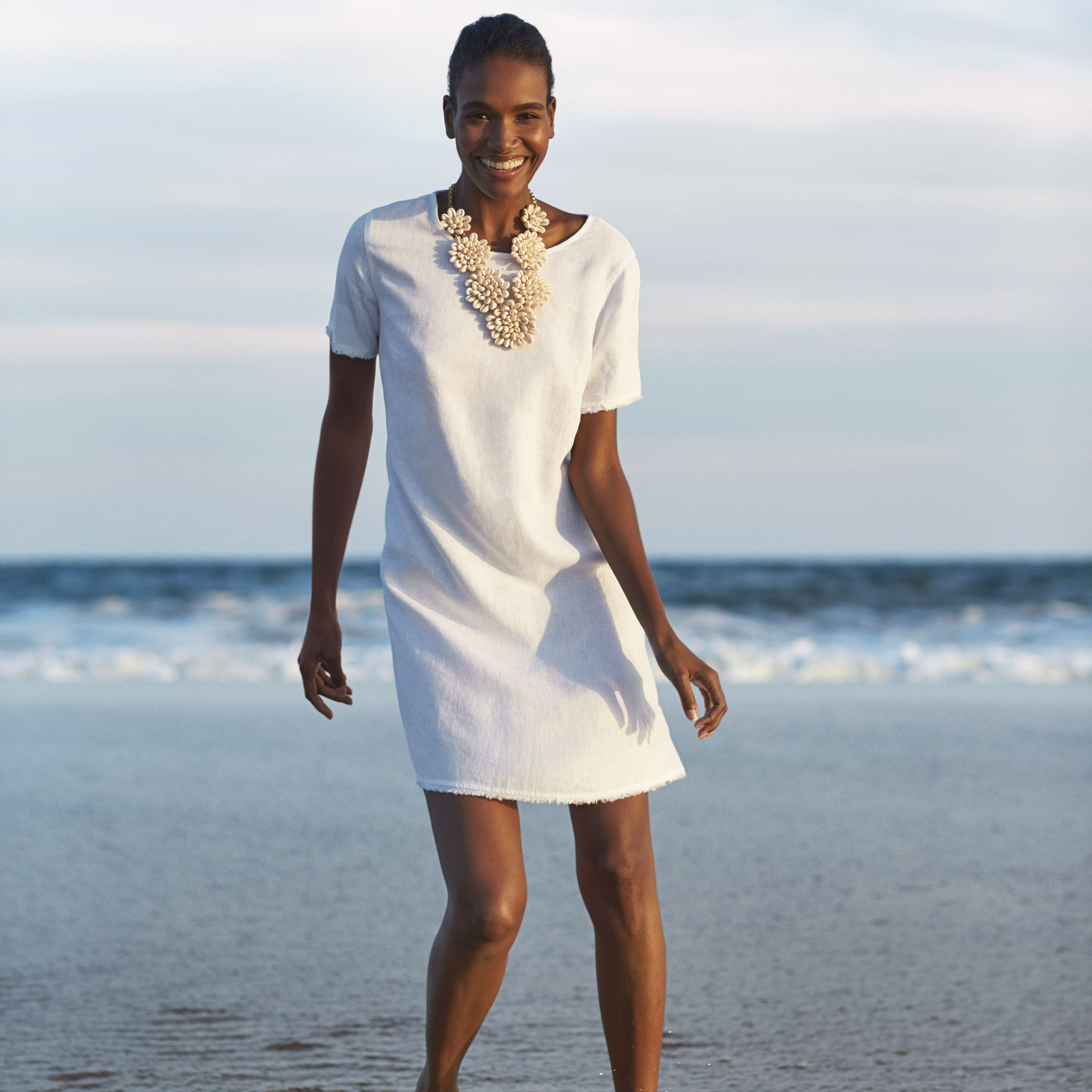 White t shirt fashion tips - Take Island Days Easy In This T Shirt Dress Made From Our Smooth Lightweight Linen It S Fashioned In A Relaxed Shape With Frayed Hems