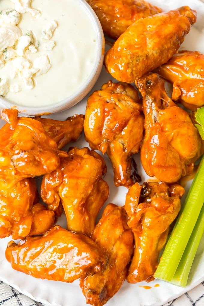 Baked Buffalo Wings On A Plate With Ranch And Celery In -9262