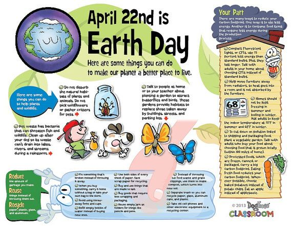 Earth Day Infotoon Classroom Poster Pdf File Showing Kids How They