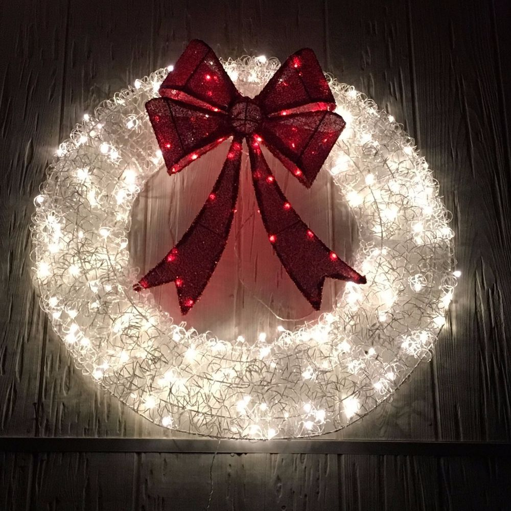 36 Lighted Red White Christmas Wreath Outdoor Holiday Yard Decor White Christmas Wreath Holiday Yard Decor Christmas Wreaths
