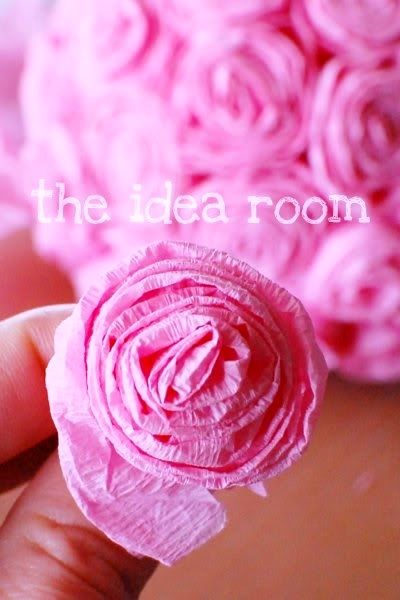 Diy crafts valentines day pink rose tissue flowers crepe paperstreamer rosettes this is done as a kissing ball but it should be pretty easy to do as a bouquet as well mightylinksfo