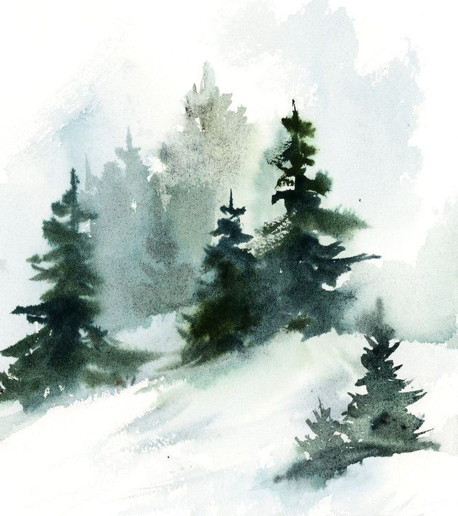 Pine Trees Landscape Watercolor Painting Nature Paintings