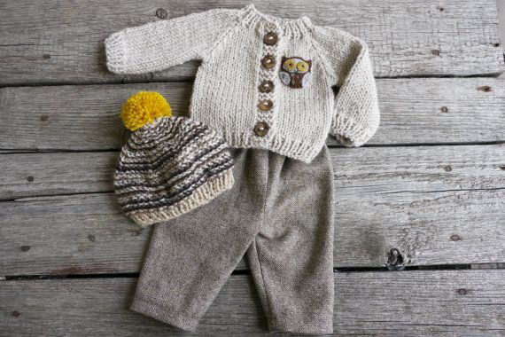 Waldorf Boy Girl Doll Clothes - Trousers, Sweater & Hat, fit 15,16 inch dolls beige-brown-mustard