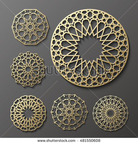 Islamic ornament vector persian motiff 3d ramadan islamic round 3d ramadan kareem greeting cardinvitation islamic styleabic circle golden patterngold ornament on blackislamic brochure stopboris Images