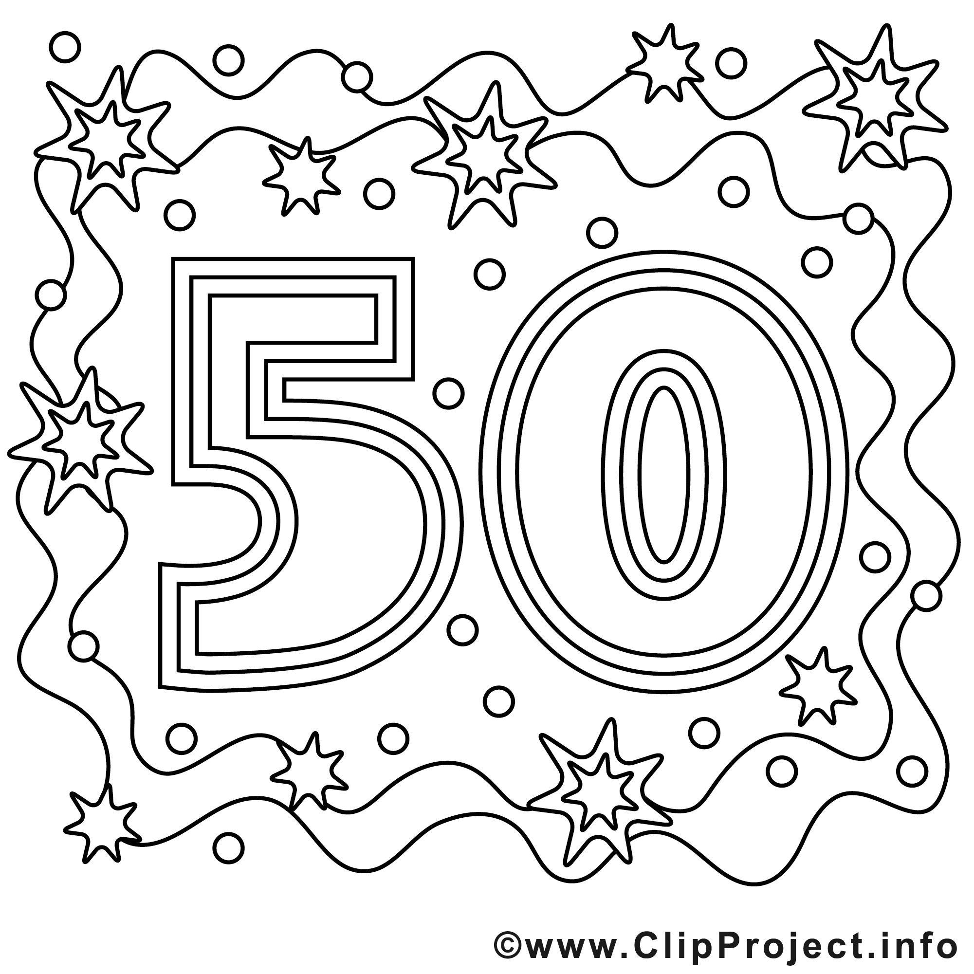 Ausmalbild zum 50 Geburtstag