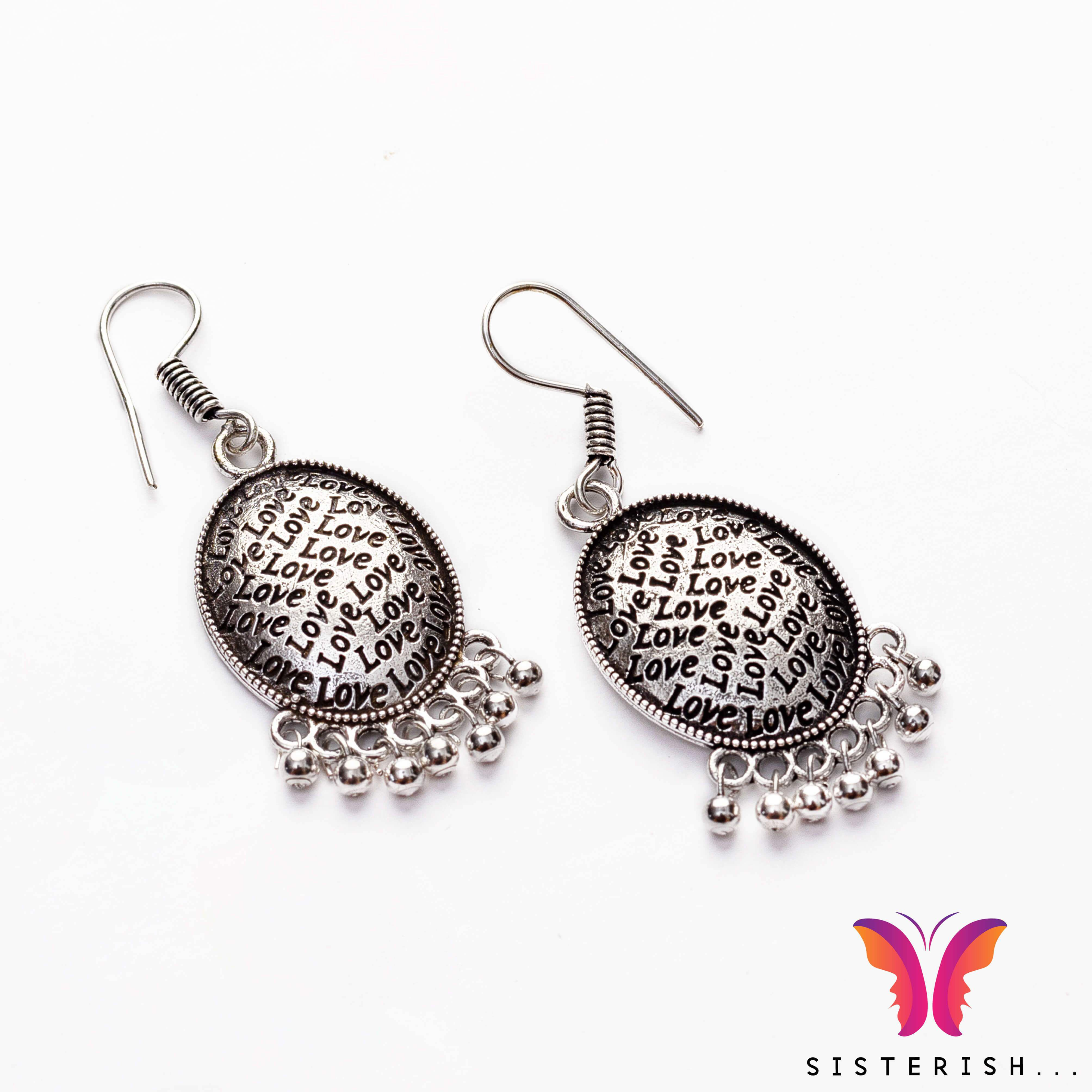 3615d5ba834c5 Love embossed german silver jhumka earring | Earrings | Silver ...