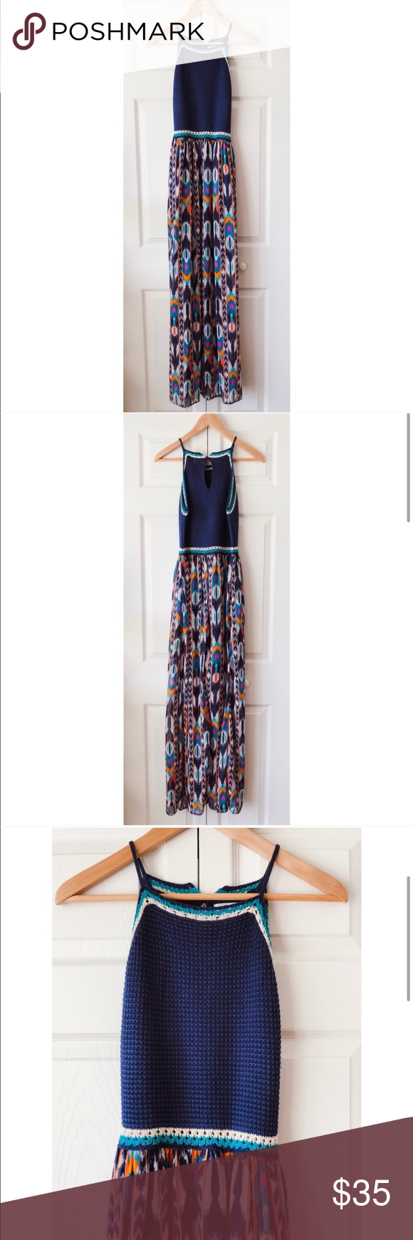 Multicolor Crochet Halter Maxi Dress Xhilaration M Halter Maxi Dresses Xhilaration Crochet Halter [ 1740 x 580 Pixel ]