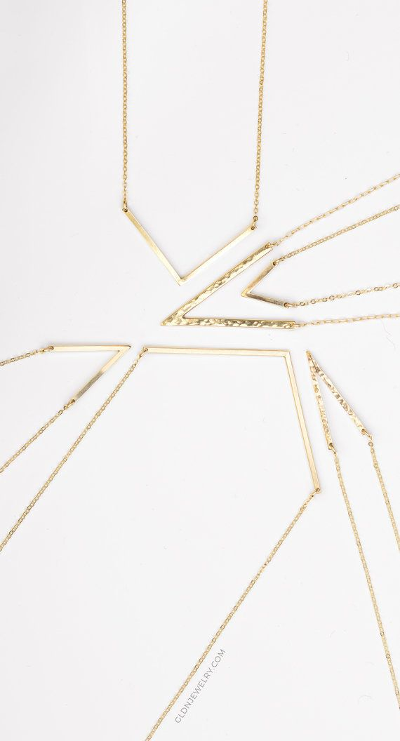 Dainty Gold Necklaces - Angled Bar Necklace. Choose Your Perfect V! 14k Gold Fill or Sterling Silver. #goldnecklaces