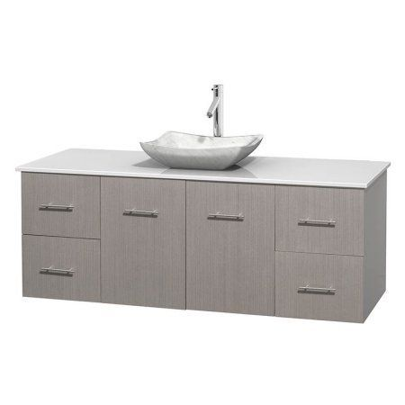 Wyndham Collection Centra 60 inch Single Bathroom Vanity in Gray Oak, White Man-Made Stone Countertop, Avalon White Carrera Marble Sink, and No Mirror