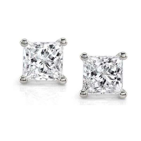 76d9910fc 14k White Gold 1ct TDW IGL-Certified Diamond Stud Earrings ($1,000) ❤ liked  on Polyvore featuring jewelry, earrings, white, butterfly stud earrings, ...