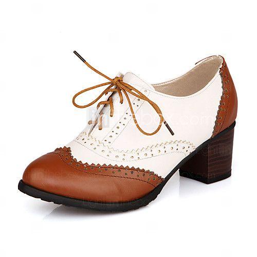Zapatos de mujer - Tacón Robusto - Punta Cerrada - Oxfords - Casual - Cuero Sintético - Negro / Marrón 2017 - $31.49