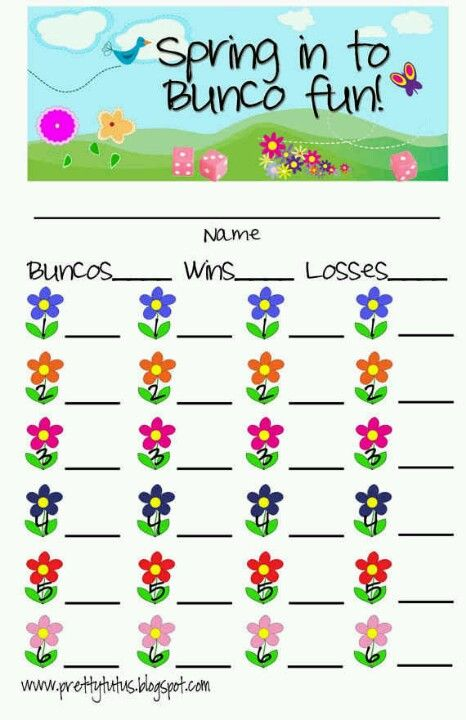 Spring Bunco Scorecards  Bunco    Spring Bunco Ideas
