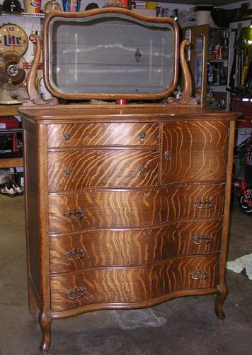 Antique Quarter Sawn Tiger Oak Dresser Chest Of Drawers With Mirror Serpentine Ebay