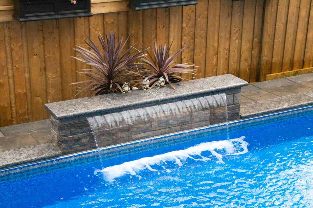 Swimming Pool Waterfall Fountain Design In 2019 Swimming