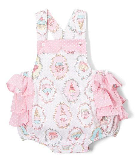f22abdfacba0 Lil Cactus Pink Ice-Cream Polka-Dot Ruffle Bubble Romper - Infant   Toddler