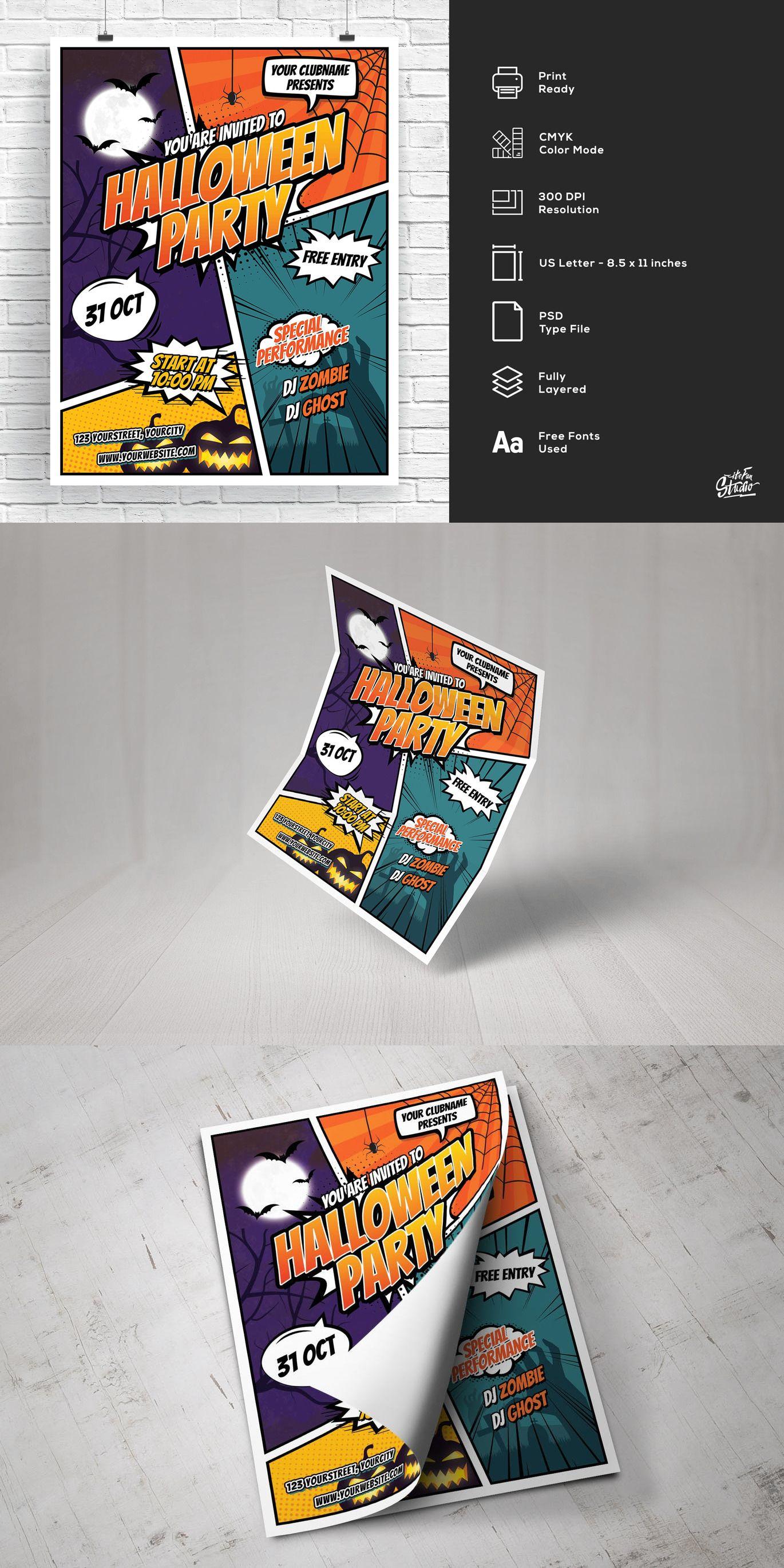 Comic style halloween party flyer adobe psd