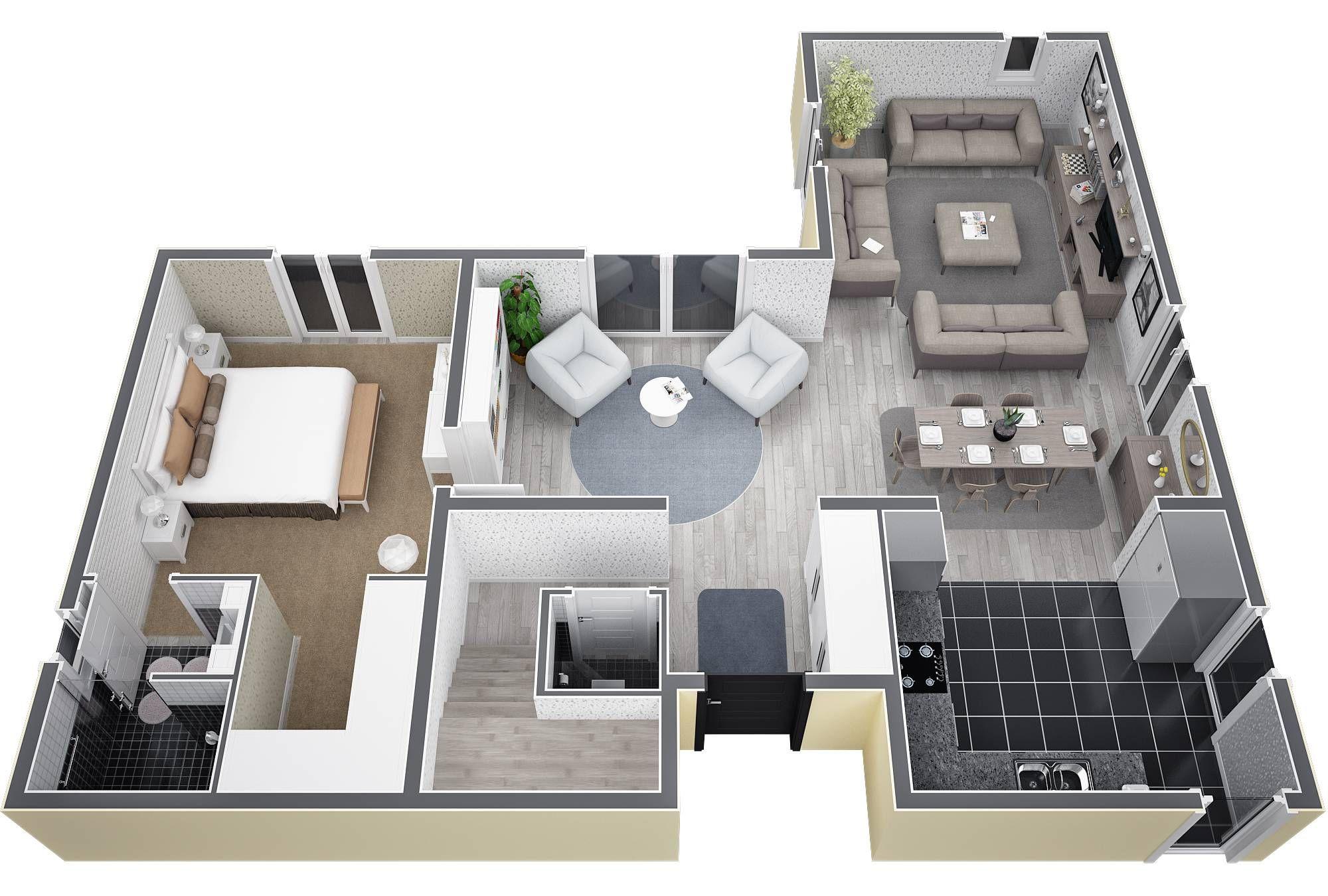 Villa dite en L, à étage de 130M². Au RDC, entrée avec porche ...