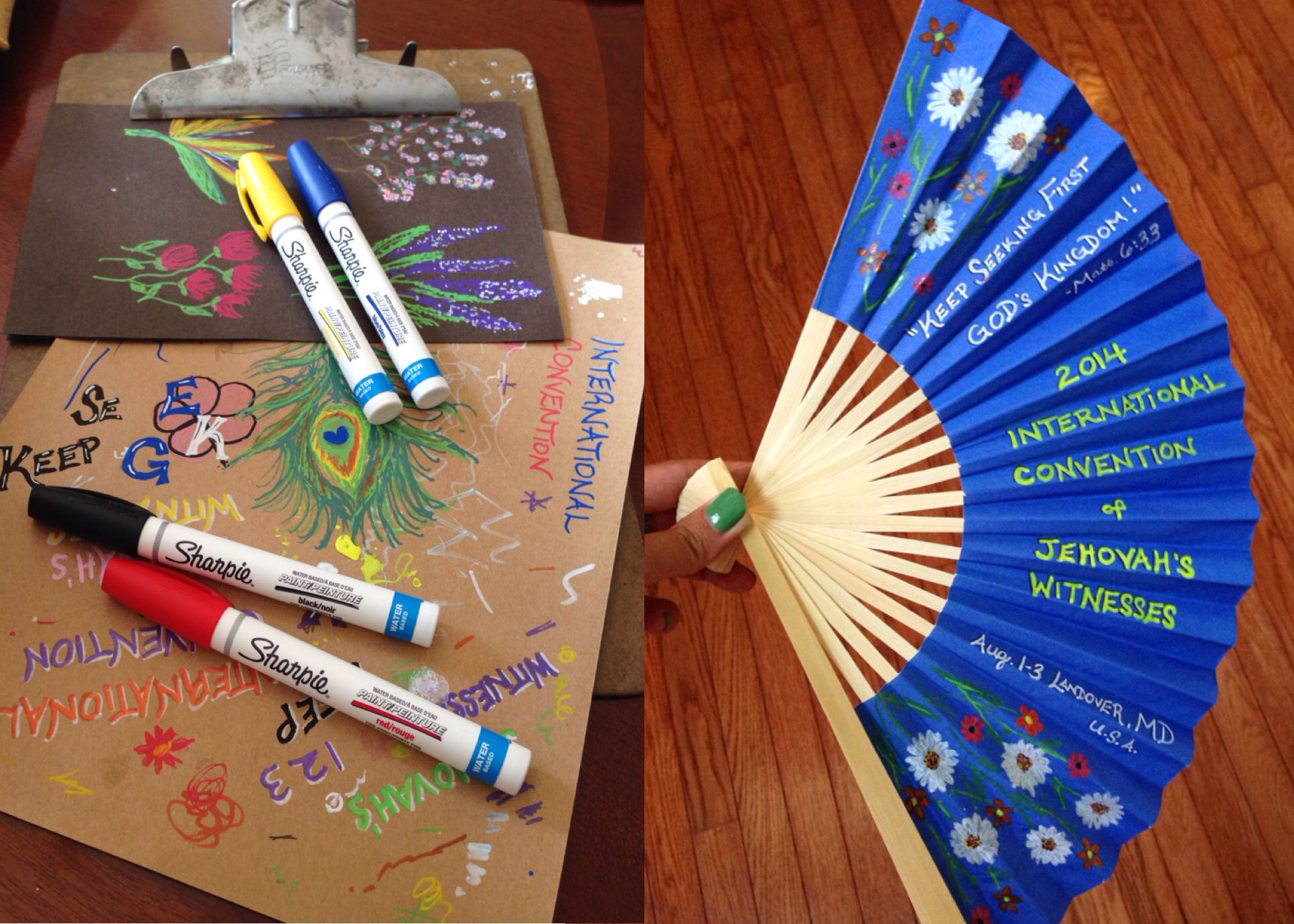 International Convention Gifts: Painted Paper Fans - Ordered from paperlanternstore.com, used Sharpie Water-Based Paint Pens to draw the words and flowers :)