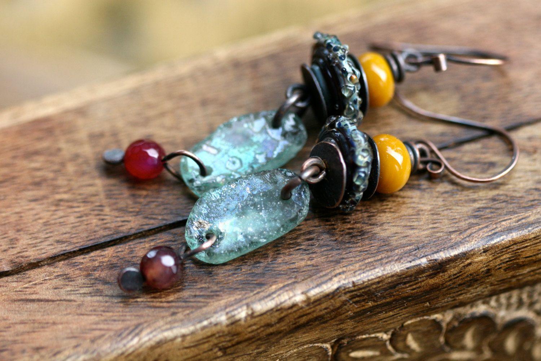 Rustic Primitive Earthy * Echoes * earrings n.195- primitive jewelry . ancient blue Roman Glass earrings . organic healing . boro glass by Tribalis on Etsy https://www.etsy.com/listing/270449887/rustic-primitive-earthy-echoes-earrings