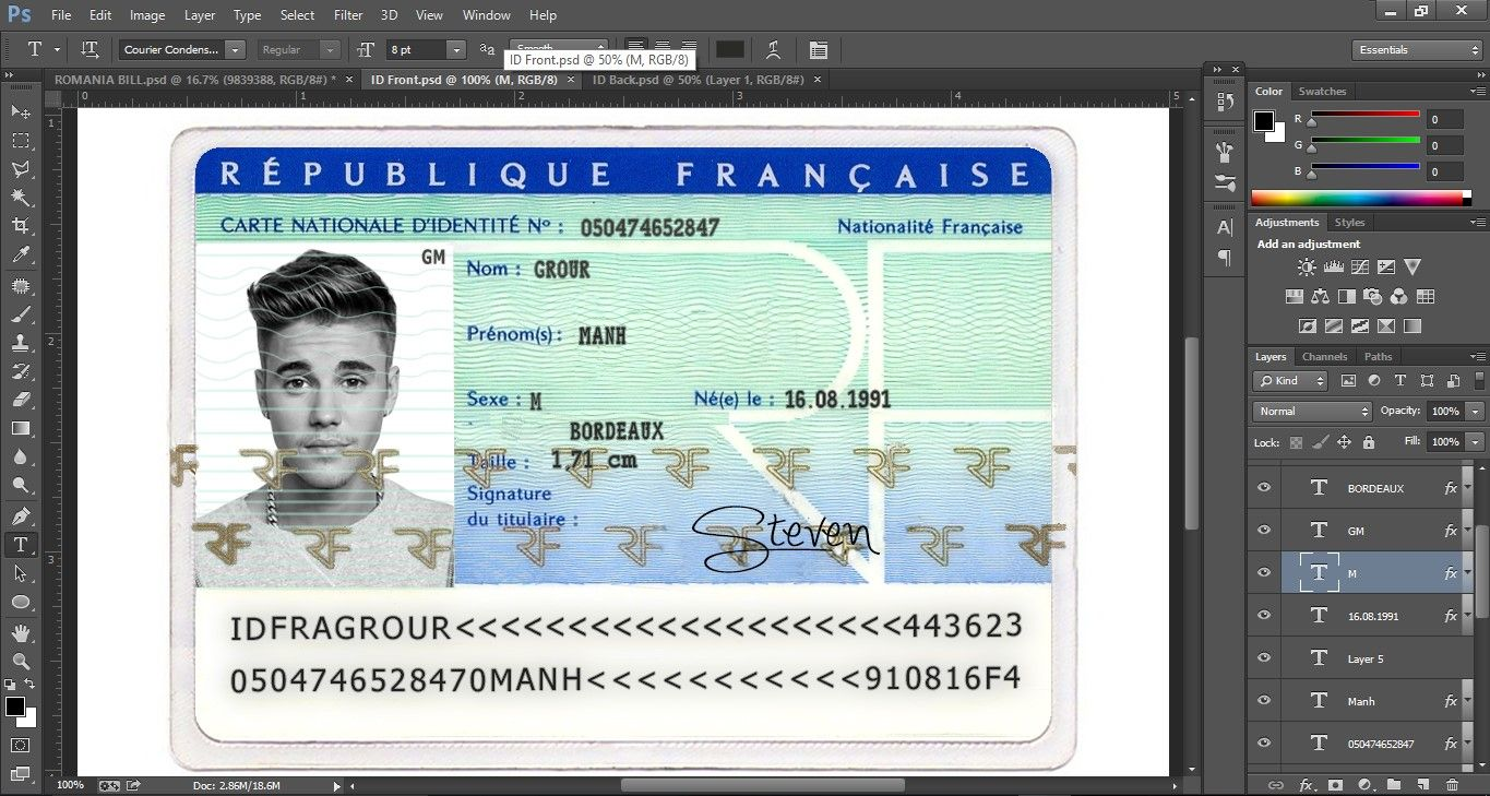 France Id Card Editable Psd Template (Photoshop Template ...