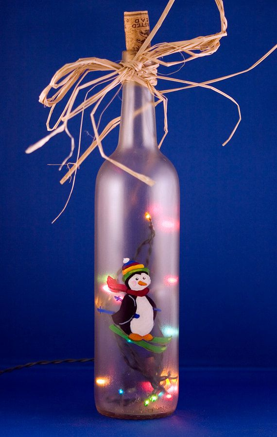 Penguin Skiing Lighted Wine Bottle Hand Painted