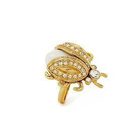 Caledonia Bug Ring White Enamel Coated Metal Crystal With Shiny 12 Karat Gold Plated Trim Ridecolorfully Katespadeny Vespa