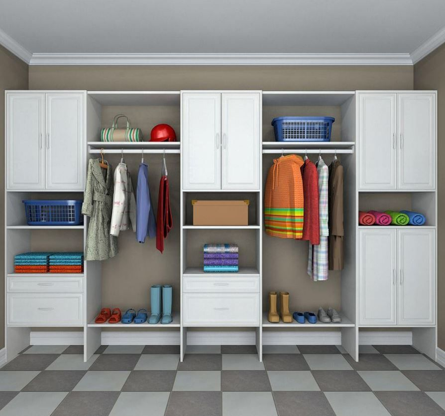 ClosetMaid Selectives 10 Ft.   14 Ft. Mudroom System In White (28 Piece).  MudroomHome DepotGarage