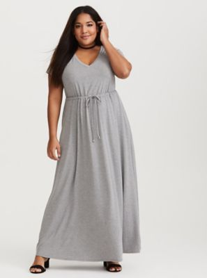 c01bb7e2ba Grey Jersey Maxi Dress in Black White