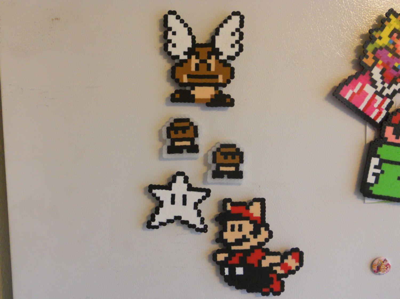 Super Mario Bros 3 Bead Sprite Magnets Flying Goomba Set Bead