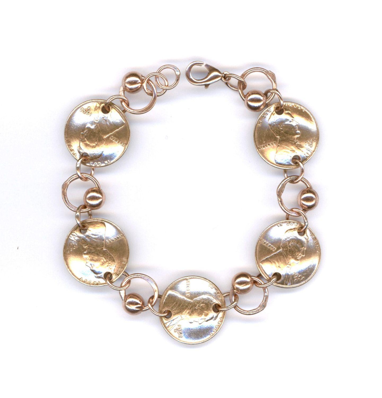 1952 Penny Coin Beaded Bracelet 65th Birthday Gift Handmade Jewelry Women Ideas By WvWorksJewelry On Etsy