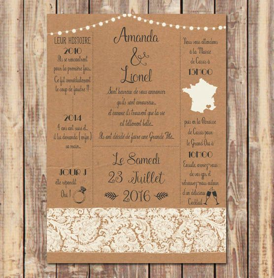 invitation mariage vintage kraft dentelle et guirlandes. Black Bedroom Furniture Sets. Home Design Ideas