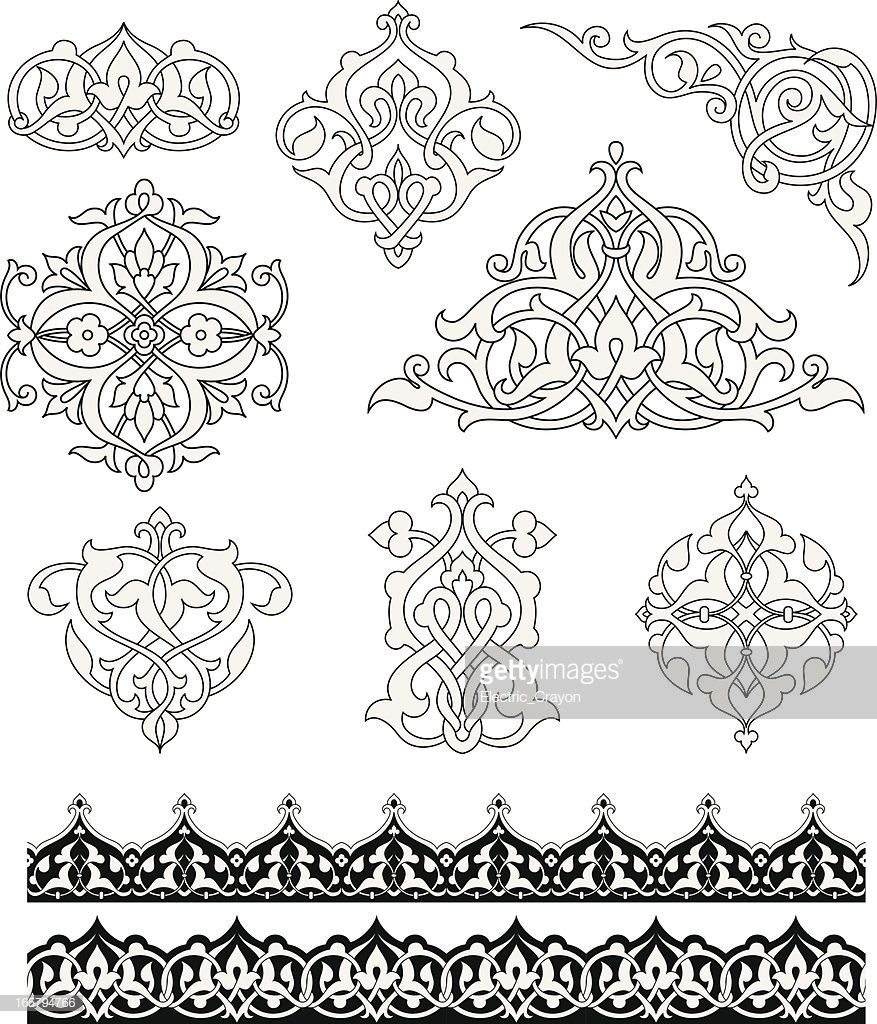 set of ornaments based on islamic design colors are